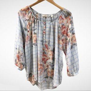 Lauren Conrad Blue Plaid Blouse Floral Print Sz L